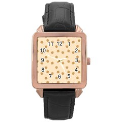 Pattern Gingerbread Star Rose Gold Leather Watch