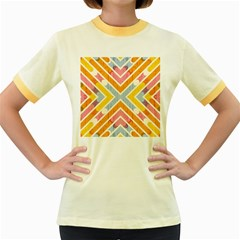 Line Pattern Cross Print Repeat Women s Fitted Ringer T-Shirts