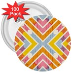 Line Pattern Cross Print Repeat 3  Buttons (100 pack)  Front