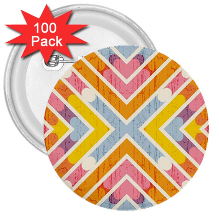 Line Pattern Cross Print Repeat 3  Buttons (100 pack)