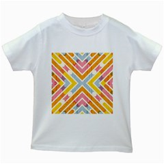 Line Pattern Cross Print Repeat Kids White T-Shirts