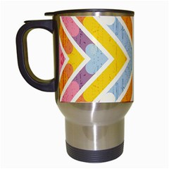 Line Pattern Cross Print Repeat Travel Mugs (White)