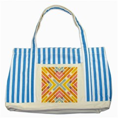 Line Pattern Cross Print Repeat Striped Blue Tote Bag