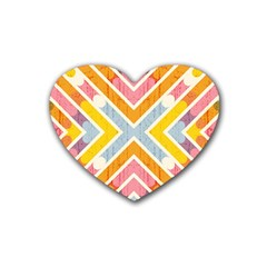 Line Pattern Cross Print Repeat Rubber Coaster (heart)