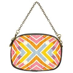 Line Pattern Cross Print Repeat Chain Purses (Two Sides)