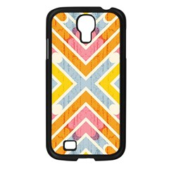 Line Pattern Cross Print Repeat Samsung Galaxy S4 I9500/ I9505 Case (Black)