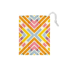 Line Pattern Cross Print Repeat Drawstring Pouches (Small)