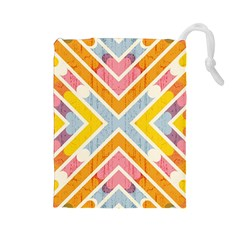 Line Pattern Cross Print Repeat Drawstring Pouches (large)