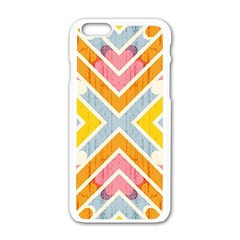 Line Pattern Cross Print Repeat Apple iPhone 6/6S White Enamel Case