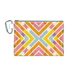 Line Pattern Cross Print Repeat Canvas Cosmetic Bag (m)