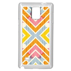 Line Pattern Cross Print Repeat Samsung Galaxy Note 4 Case (White)