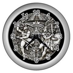 Pattern Motif Decor Wall Clocks (Silver)