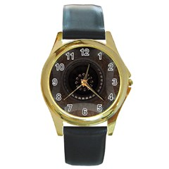Pattern Design Symmetry Up Ceiling Round Gold Metal Watch