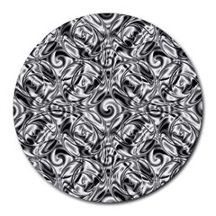 Gray Scale Pattern Tile Design Round Mousepads