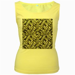 Gray Scale Pattern Tile Design Women s Yellow Tank Top