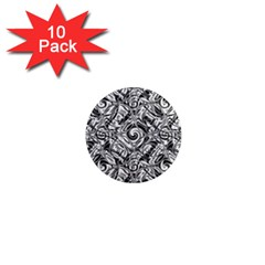 Gray Scale Pattern Tile Design 1  Mini Magnet (10 Pack)