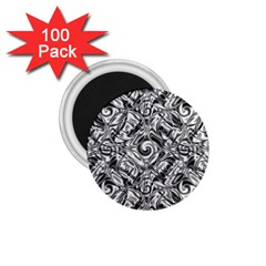 Gray Scale Pattern Tile Design 1.75  Magnets (100 pack)