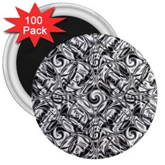Gray Scale Pattern Tile Design 3  Magnets (100 pack)