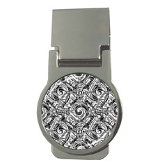Gray Scale Pattern Tile Design Money Clips (round)