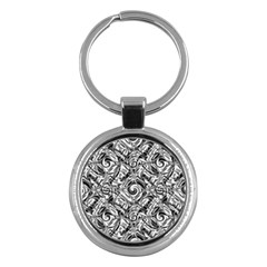 Gray Scale Pattern Tile Design Key Chains (Round)