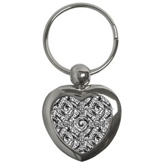 Gray Scale Pattern Tile Design Key Chains (heart)