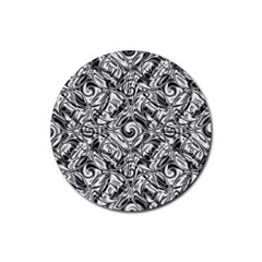 Gray Scale Pattern Tile Design Rubber Coaster (Round)