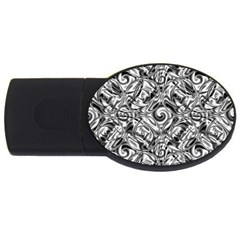 Gray Scale Pattern Tile Design USB Flash Drive Oval (1 GB)