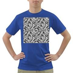 Gray Scale Pattern Tile Design Dark T-Shirt