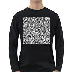 Gray Scale Pattern Tile Design Long Sleeve Dark T Shirts