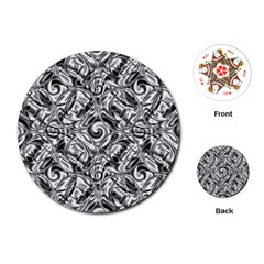Gray Scale Pattern Tile Design Playing Cards (Round)
