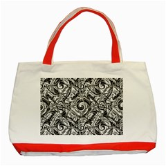 Gray Scale Pattern Tile Design Classic Tote Bag (red)