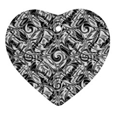 Gray Scale Pattern Tile Design Heart Ornament (two Sides)