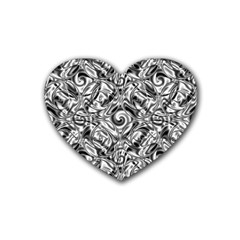 Gray Scale Pattern Tile Design Rubber Coaster (heart)