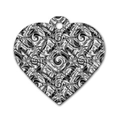 Gray Scale Pattern Tile Design Dog Tag Heart (Two Sides)