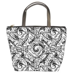 Gray Scale Pattern Tile Design Bucket Bags