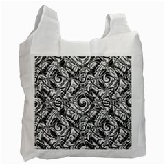 Gray Scale Pattern Tile Design Recycle Bag (two Side)