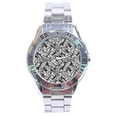 Gray Scale Pattern Tile Design Stainless Steel Analogue Watch