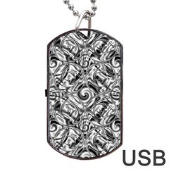 Gray Scale Pattern Tile Design Dog Tag Usb Flash (one Side)