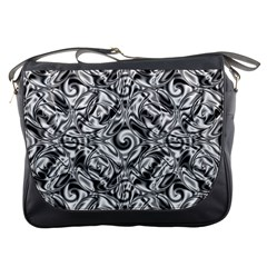 Gray Scale Pattern Tile Design Messenger Bags