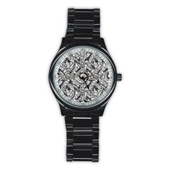 Gray Scale Pattern Tile Design Stainless Steel Round Watch