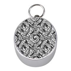 Gray Scale Pattern Tile Design Mini Silver Compasses