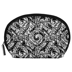 Gray Scale Pattern Tile Design Accessory Pouches (large)