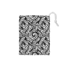 Gray Scale Pattern Tile Design Drawstring Pouches (small)