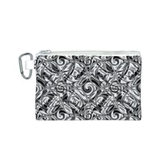 Gray Scale Pattern Tile Design Canvas Cosmetic Bag (S)