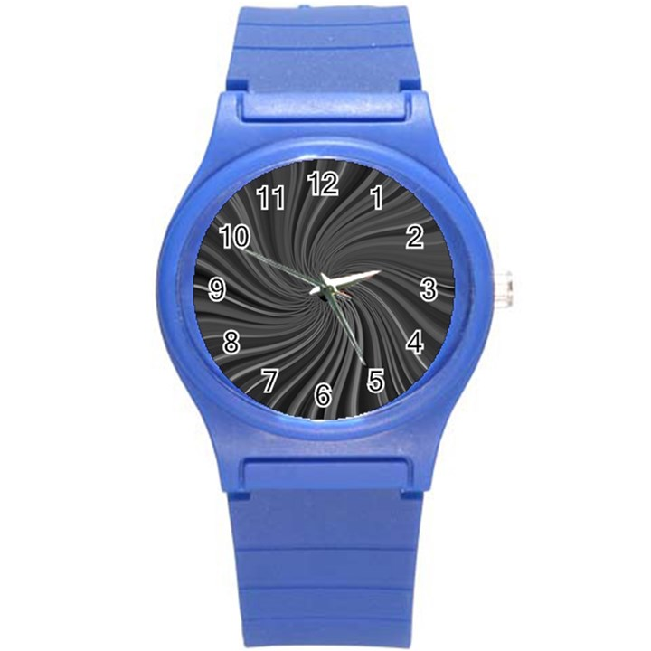 Abstract Art Color Design Lines Round Plastic Sport Watch (S)