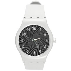 Abstract Art Color Design Lines Round Plastic Sport Watch (M)