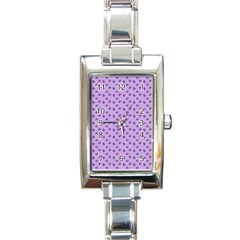 Pattern Background Violet Flowers Rectangle Italian Charm Watch