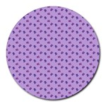 Pattern Background Violet Flowers Round Mousepads Front