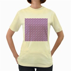 Pattern Background Violet Flowers Women s Yellow T-Shirt