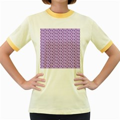 Pattern Background Violet Flowers Women s Fitted Ringer T-Shirts